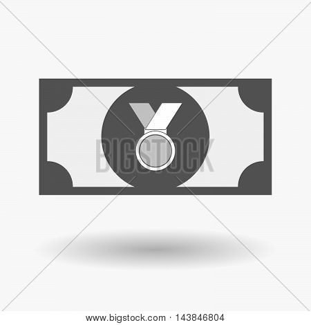 Isolated  Bank Note Icon With  A Medal