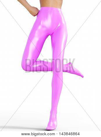 Sexy slim female legs in pink latex stockings. Conceptual fashion art. Shiny pantyhose. Seductive candid pose. Photorealistic 3D render illustration. Isolate. Studio, high key.