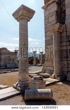 Ancient architecture columns in St. John Church in Selcuk / Ephesus