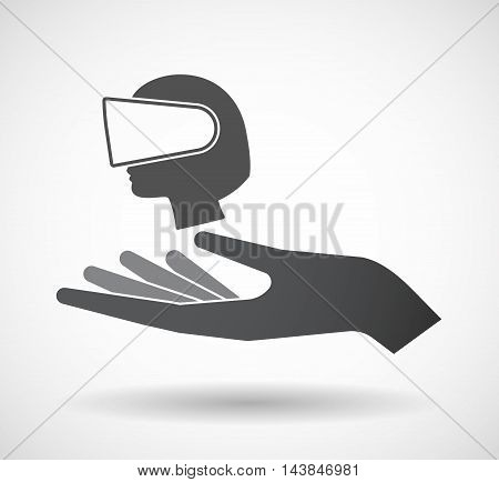 Isolated  Offerign Hand Icon With  A Female Head Wearing A Virtual Reality Headset