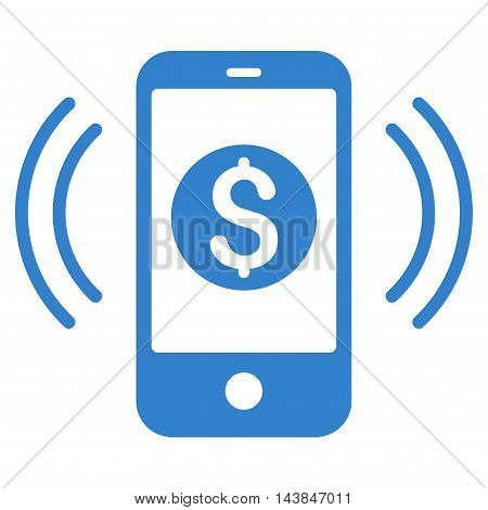 Payment Phone Ring icon. Vector style is flat iconic symbol with rounded angles, cobalt color, white background.