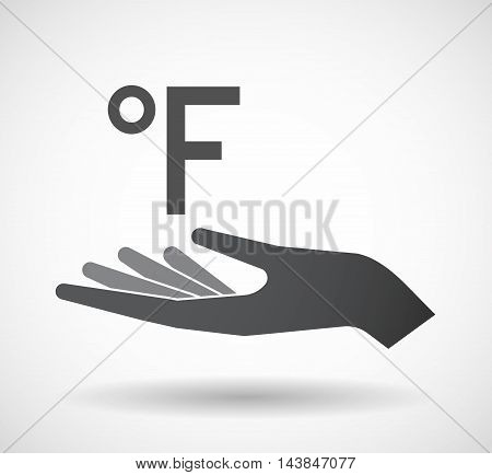 Isolated  Offerign Hand Icon With  A Farenheith Degrees Sign