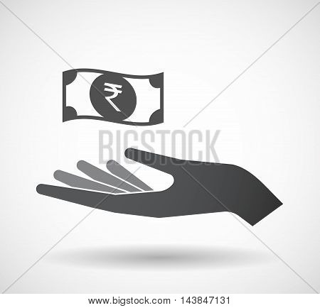 Isolated  Offerign Hand Icon With  A Rupee Bank Note Icon