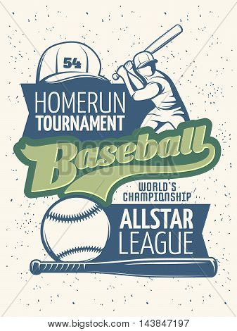 Baseball tournament print with green inscription in center sports equipment on blue spots background vector illustration