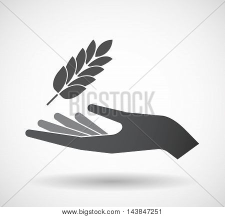 Isolated  Offerign Hand Icon With  A Wheat Plant Icon