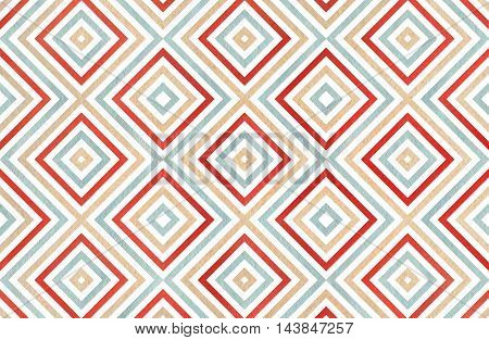 Geometrical Pattern In Beige, Red And Blue Colors.