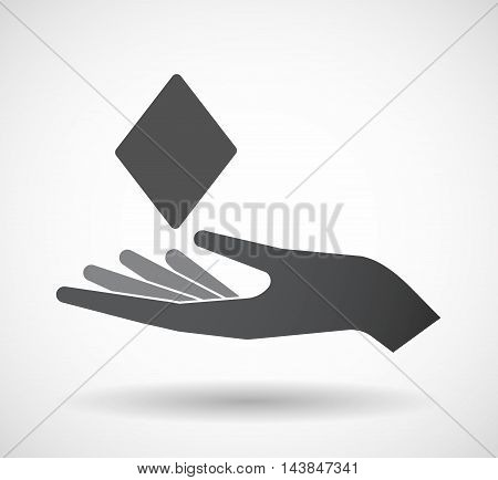 Isolated  Offerign Hand Icon With  The  Diamond  Poker Playing Card Sign