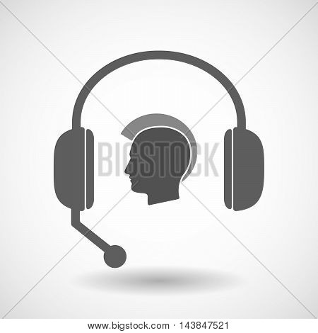 Isolated  Hands Free Headset Icon With  A Male Punk Head Silhouette