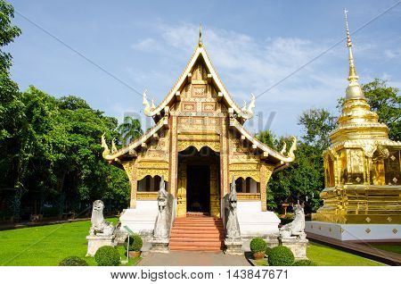 phra sing temple is the most famous temple in chiangmai thailand