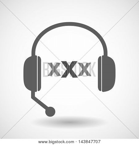 Isolated  Hands Free Headset Icon With  A Xxx Letter Icon