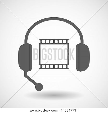 Isolated  Hands Free Headset Icon With   A Photographic 35Mm Film Strip