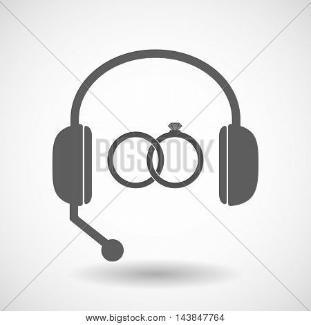 Isolated  Hands Free Headset Icon With  Two Bonded Wedding Rings