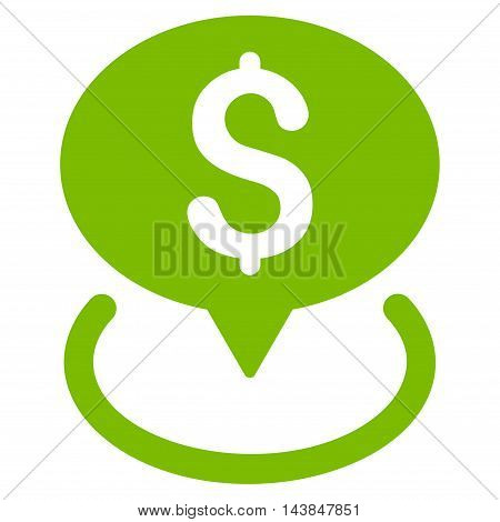 Bank Location icon. Vector style is flat iconic symbol with rounded angles, eco green color, white background.
