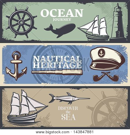 Three horizontal colored nautical banner set with titles ocean journey nautical heritage and discover the sea vector illustration