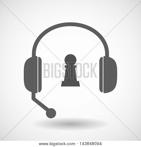 Isolated  Hands Free Headset Icon With A  Pawn Chess Figure