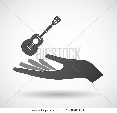 Isolated  Offerign Hand Icon With  An Ukulele