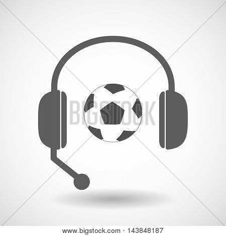 Isolated  Hands Free Headset Icon With  A Soccer Ball