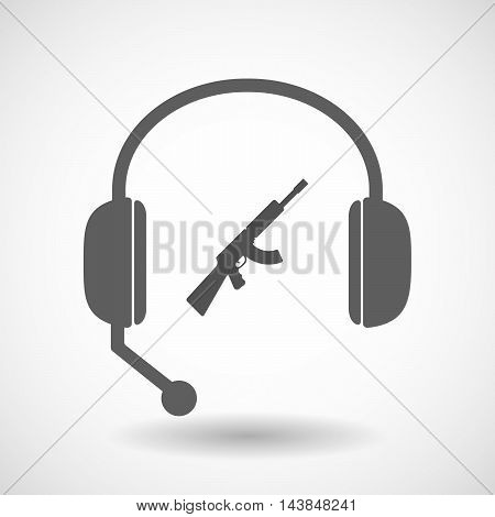 Isolated  Hands Free Headset Icon With  A Machine Gun Sign