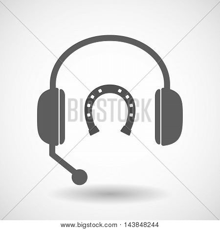 Isolated  Hands Free Headset Icon With  A Horseshoe Sign