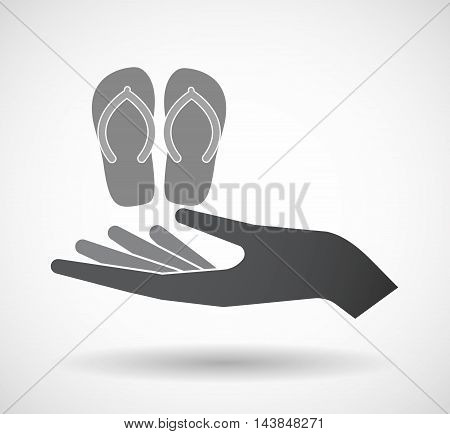 Isolated  Offerign Hand Icon With   A Pair Of Flops