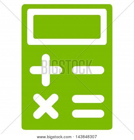 Calculator icon. Vector style is flat iconic symbol with rounded angles, eco green color, white background.