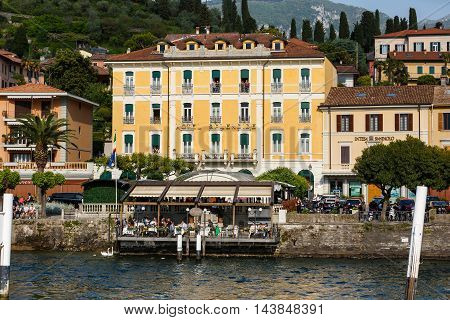 Bellagio Italy - May 06 2016: People expect a ferry in the marina of the town spring time