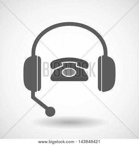 Isolated  Hands Free Headset Icon With  A Retro Telephone Sign