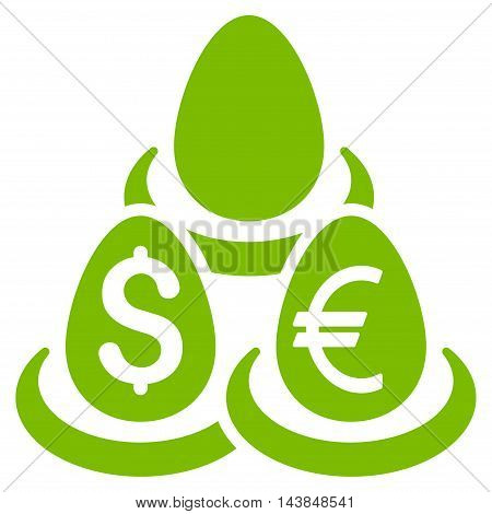 Currency Deposit Diversification icon. Vector style is flat iconic symbol with rounded angles, eco green color, white background.