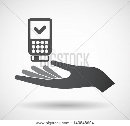Isolated  Offerign Hand Icon With  A Dataphone Icon