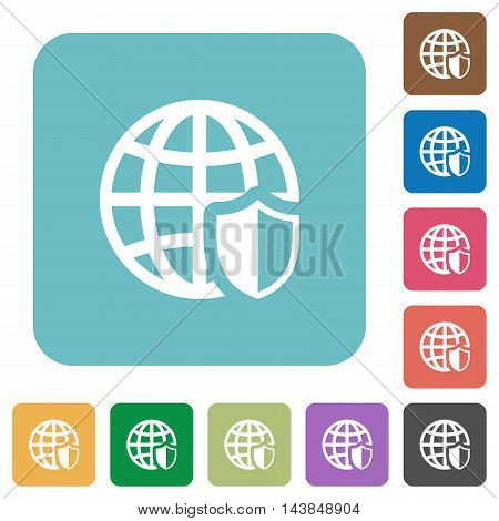 Flat internet security icons on rounded square color backgrounds.