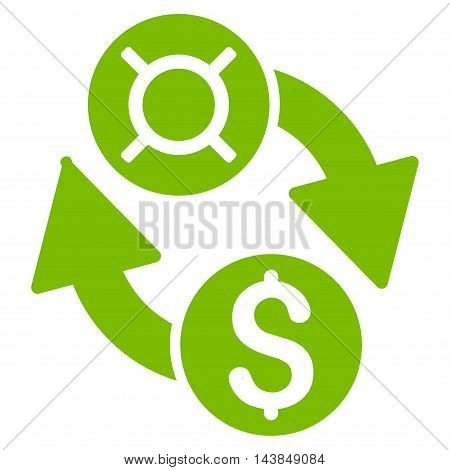 Dollar Currency Exchange icon. Vector style is flat iconic symbol with rounded angles, eco green color, white background.