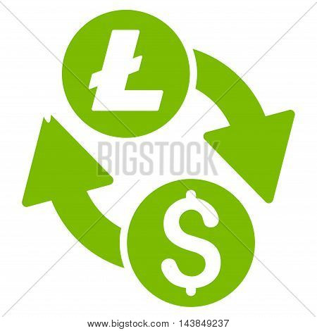 Dollar Litecoin Exchange icon. Vector style is flat iconic symbol with rounded angles, eco green color, white background.
