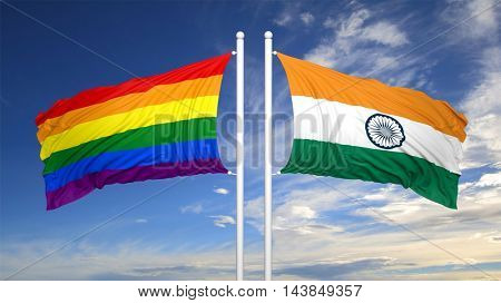 3d rendering rainbow colors flag with India flag