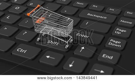Close-up of 3d rendered computer keyboard with shopping trolley on it