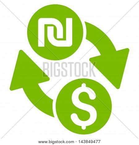 Dollar Shekel Exchange icon. Vector style is flat iconic symbol with rounded angles, eco green color, white background.
