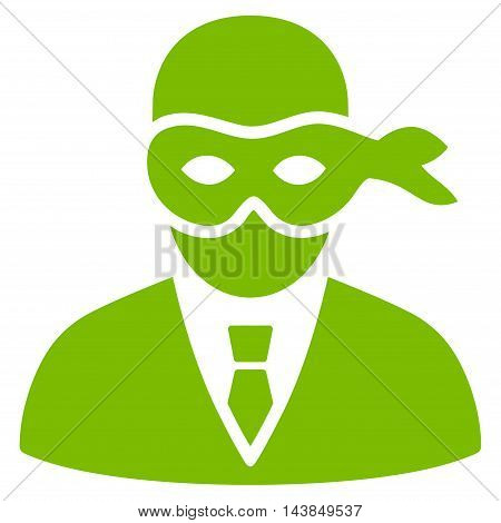 Masked Thief icon. Vector style is flat iconic symbol with rounded angles, eco green color, white background.