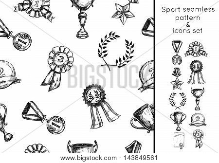 Sketch sport win seamless pattern and icon set with elements of championship vector illustration
