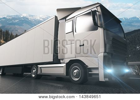 Side view of grey truck with empty trailer on landscape background. Mock up 3D Rendering