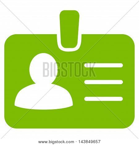 Person Badge icon. Vector style is flat iconic symbol with rounded angles, eco green color, white background.