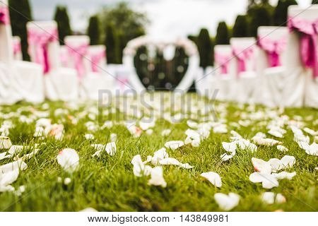 Outdoor wedding aisle at a destination wedding