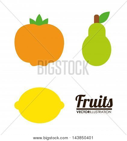 mandarin lemon pear fruit healthy organic food icon. Colorful and flat design. Vector illustration