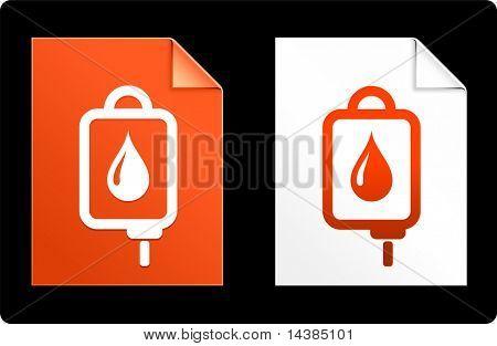 IV infuus op papier ingesteld oorspronkelijke vectorillustratie