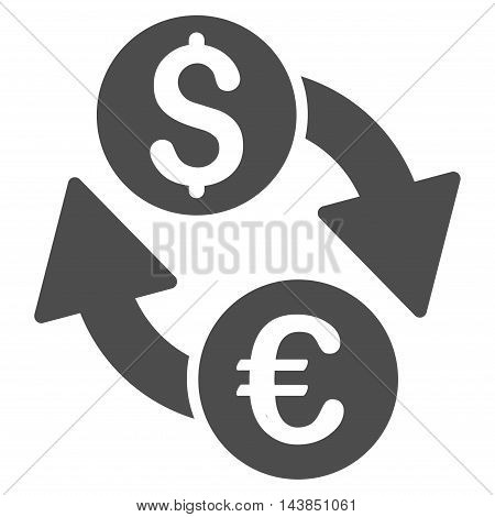 Euro Dollar Exchange icon. Vector style is flat iconic symbol with rounded angles, gray color, white background.