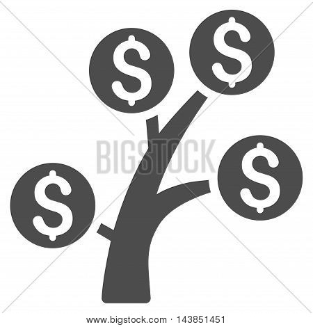 Money Tree icon. Vector style is flat iconic symbol with rounded angles, gray color, white background.