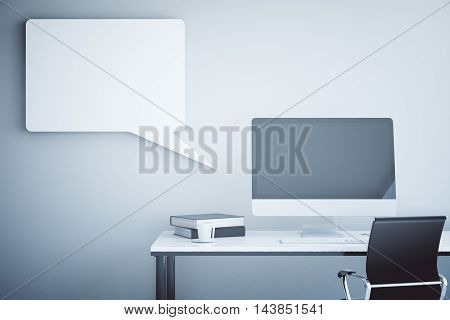 Creative workplace with empty computer monitor book coffee cup swivel-chair and abstract speech bubble on concrete wall background. Mock up 3D Rendering