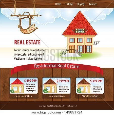 Vector Real Estate template with illustration of house