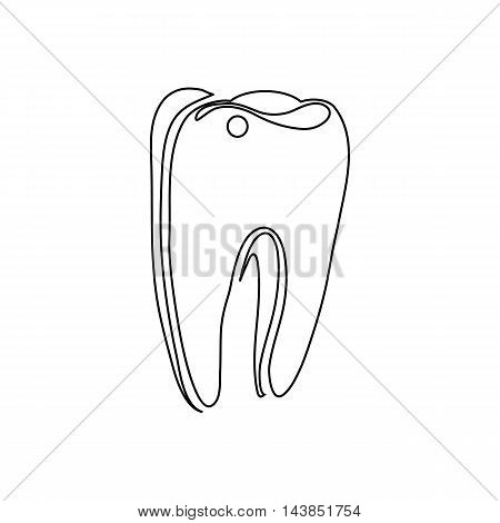 Tooth icon in outline style isolated on white background