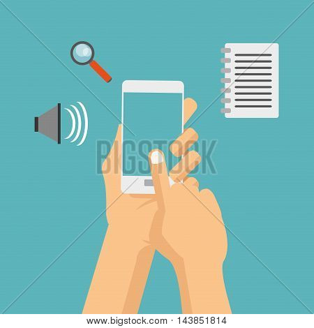 smartphone paper lupe cyber security system technology icon. Colorful and flat design. Vector illustration