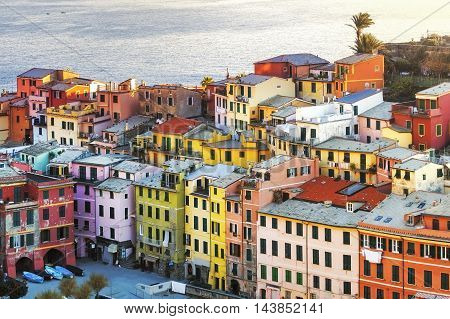 Vernazza village buildings aerial view. Seascape in Five lands Cinque Terre National Park Liguria Italy Europe. Long Exposure.