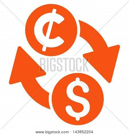 Dollar Cent Exchange icon. Vector style is flat iconic symbol with rounded angles, orange color, white background.